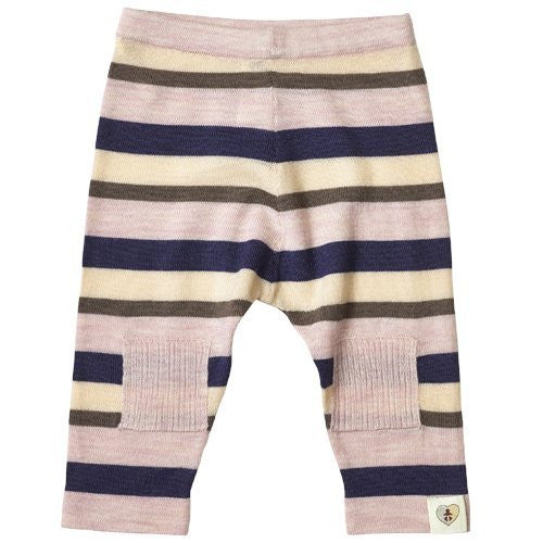 Multi Stripe Merino Pantalon - French Navy & Candytuft Pink