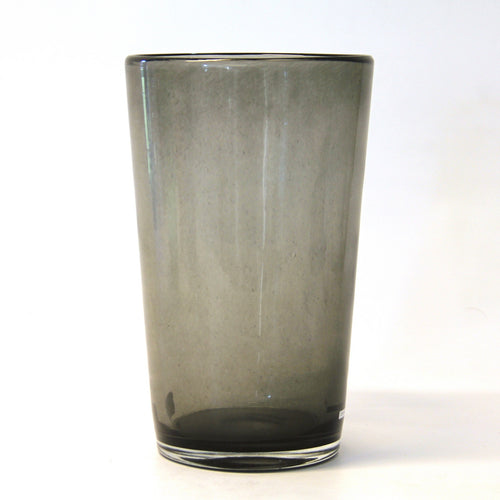 smoke grey clear glass vase - cylinder with slightly smaller base than rim