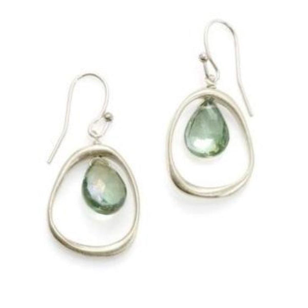 Organic Circle with Green Quartz Silver Earrings