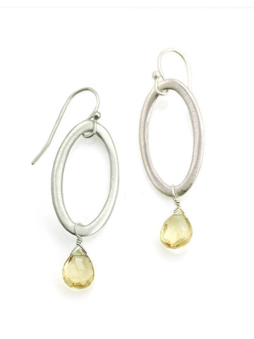 Oval with citrine, silver earrings