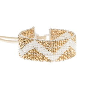 Warrior Bracelet - Narrow Zig Zag White & Gold