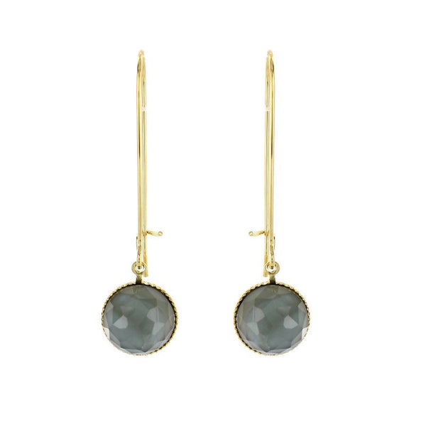 Pom Crystal Earrings Long Grey