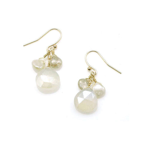 Champagne Quartz and Pearl Chalcedony Vermeil Earrings