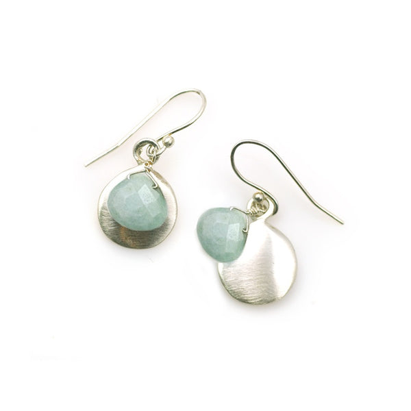 Discs with Aquamarine Silver Earrings