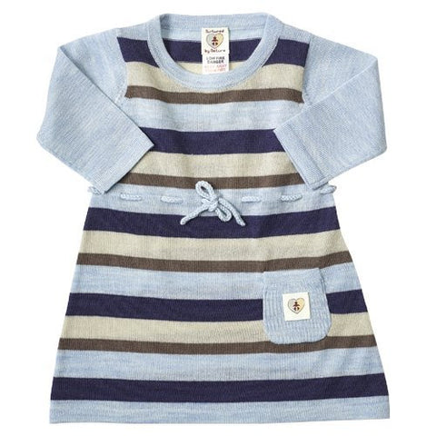 Multi Stripe Merino Dress - French Navy & Cornflower Blue