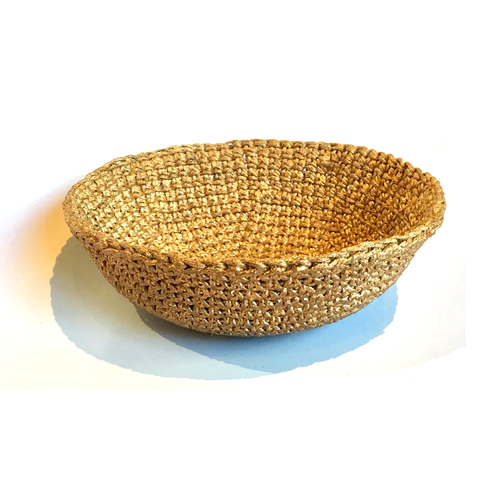 Crocheted & Resin Medium Hemp Bowl - Bronze