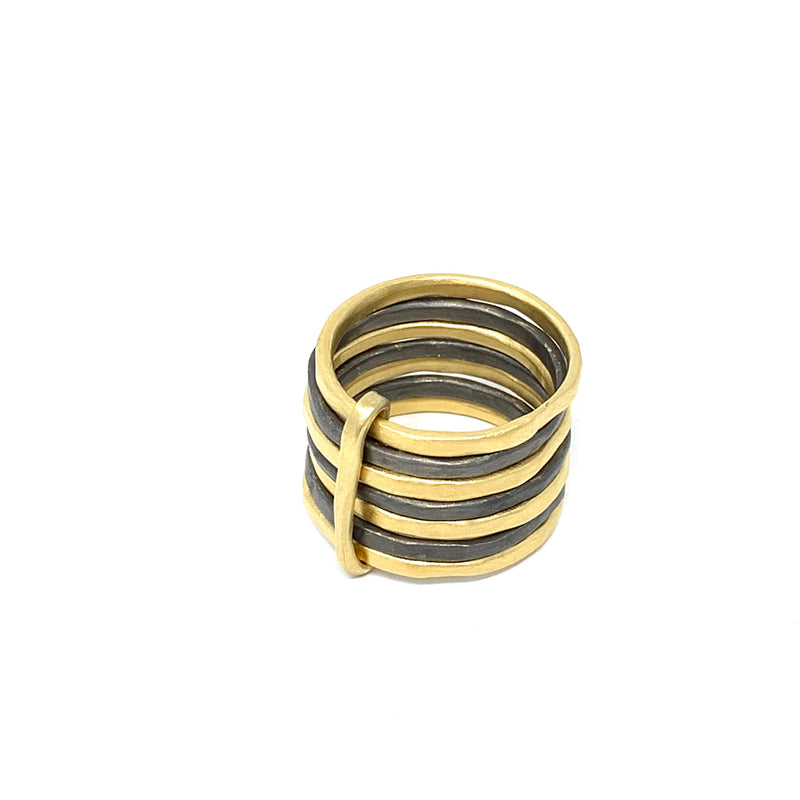 Sophie 7 Mix Ring Gold & Ruthenium