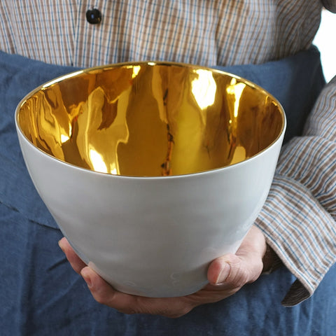 Gold Glazed - Tall Salad Bowl