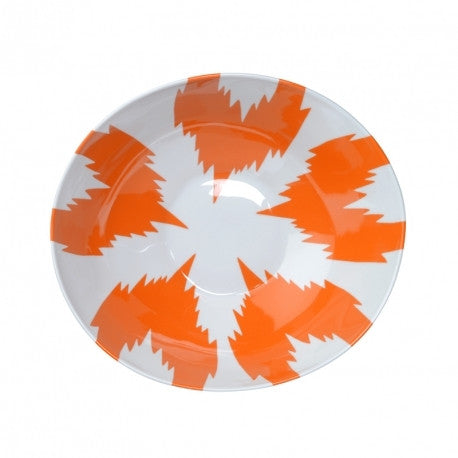 Uzbek Wide Salad Bowl - Ikat Orange
