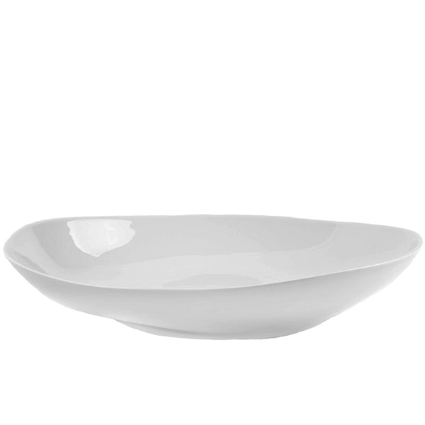 White Low Wide Salad Bowl
