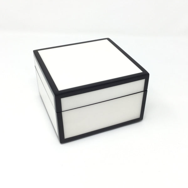 White with Black Trim Lacquer Boxes & Trays