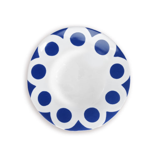 Blue and white kashgar plate, on white background. Blue spots on plate.