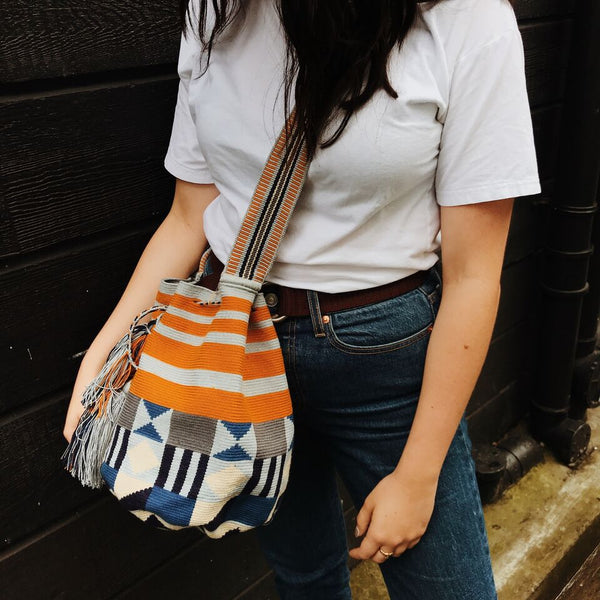 Wayuu Medium Bag Blue & Orange