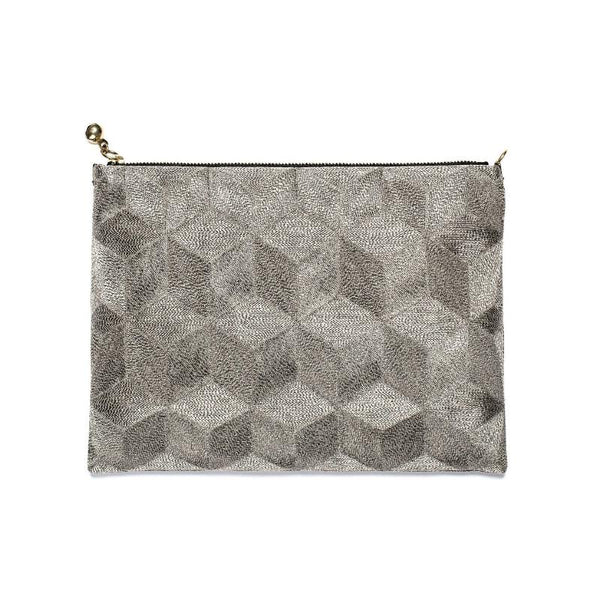 Embroidered Clutch Medium - Silver