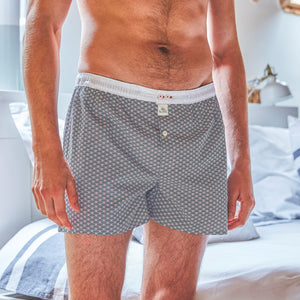Mens Cotton Boxer Shorts - Blue Wave