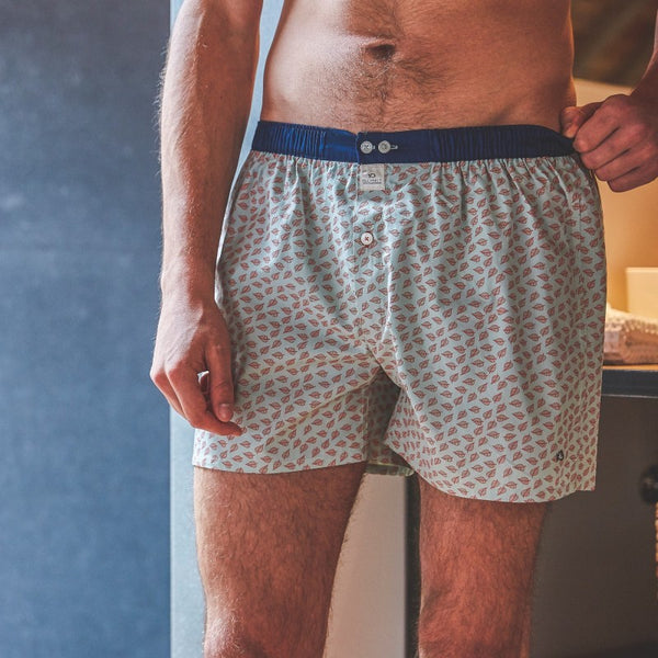 Mens Cotton Boxer Shorts - Green Jungle