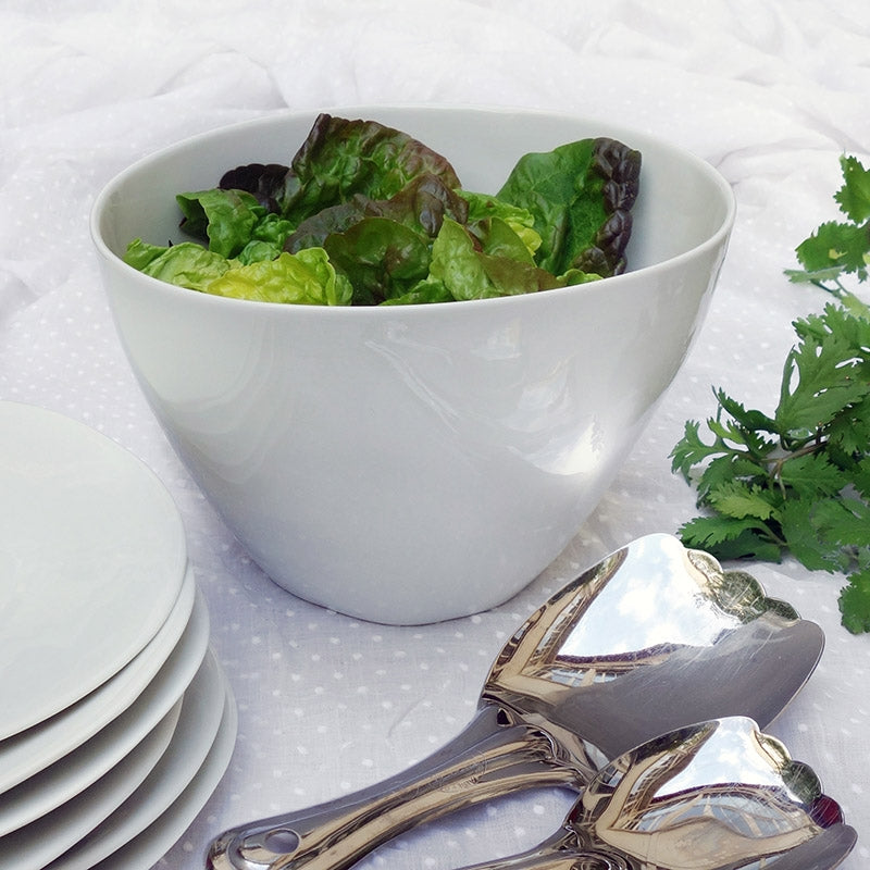 White Famished Large Salad Bowl