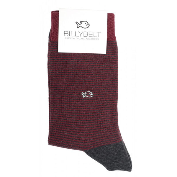 Cotton Socks - Burgundy Stripe