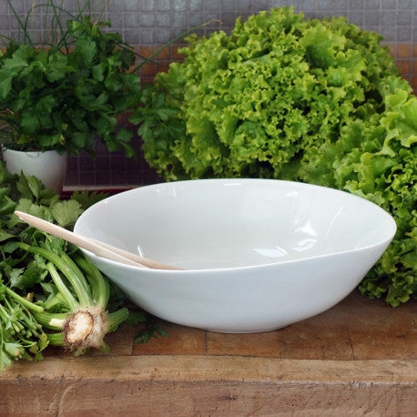 White Large Wide Salad Bowl