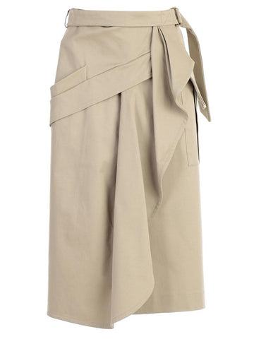 Alberta Ferretti Wrapped Midi Skirt