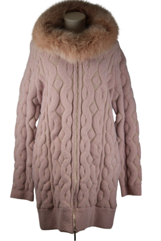 Blumarine Heavy Knit, Hoodie with Fur Jacket