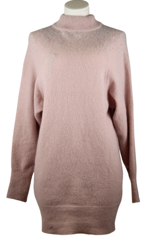 Blumarine Mock Neck Embellished Oversized Sweater