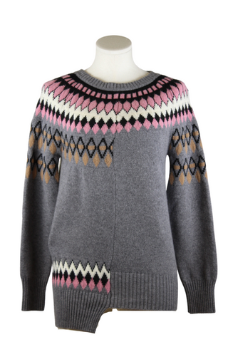Avant Toi Asymmetric Scandinavian Pattern Sweater