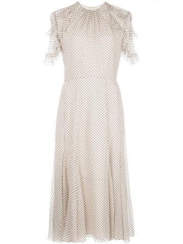 Jason Wu Flocked Dot Silk Crinkle Chiffon Day Dress (Pick Up In Store Only)