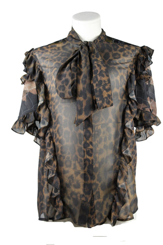 Preen Georgette Leopard Print Blouse (Pick Up In Store Only)