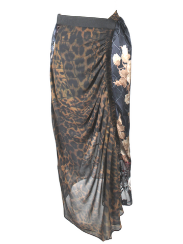 Preen Floral, Leopard, Rouched Side Skirt (Pick Up In Store Only)