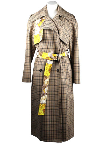 MSGM Check and Floral Trench Coat
