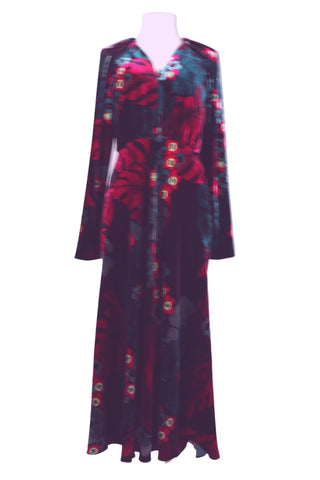 Dries Van Noten V Neck Waisted Velvet Dress