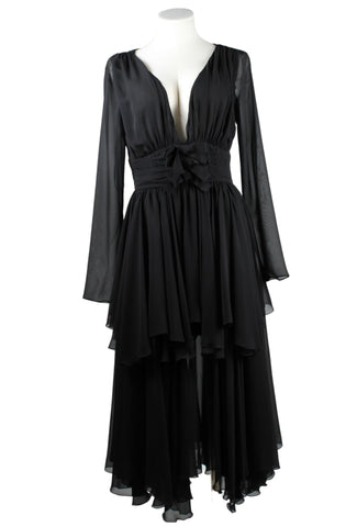 Giambatista Valli Deep V-Neck Chiffon Dress (Pick Up In Store Only)