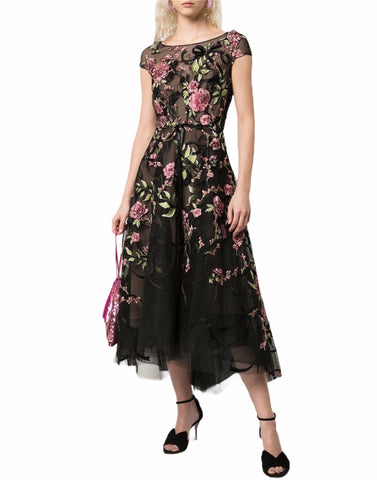 Marchesa Floral Embroidered Midi Dress (Pick Up In Store Only)
