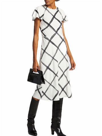 Jason Wu Windowpane-Print Crepe Day Dress