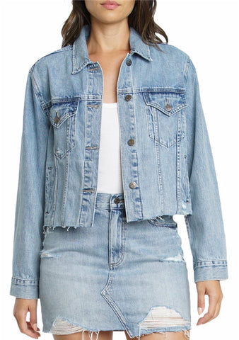 Pistola Light Wash Cropped Denim Jacket (Pick Up In Store Only)