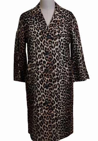 Ganni Leopard Print Overcoat (Pick Up In Store Only)