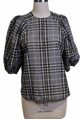 Ganni Plaid Puff-Sleeve Blouse