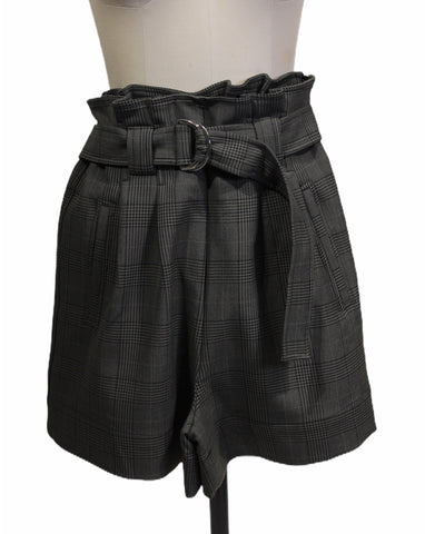 Ganni Check Pleated Shorts