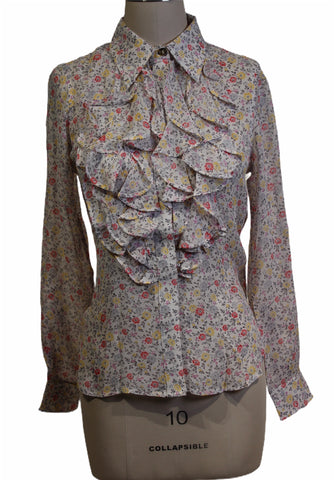Ganni Floral Printed Ruffled Blouse (Pick Up In Store Only)
