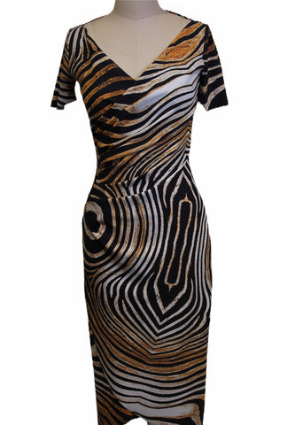 Chiara Boni Tiger Print Fitted Midi Dress (Pick Up In Store Only)