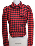 Red Valentino Red Check Cropped Jacket (Pick Up In Store Only)