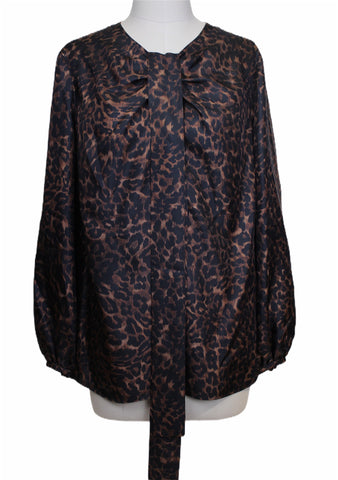 Mantu Leopard Print Long Sleeve Blouse (Pick Up In Store Only)