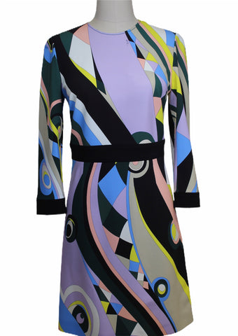 Emilio Pucci Violet Multi Printed Long Sleeve Dress (Pick Up In Store Only)
