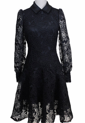 Monique Lhullier Black Lace Long Sleeve Dress (Pick Up In Store Only)