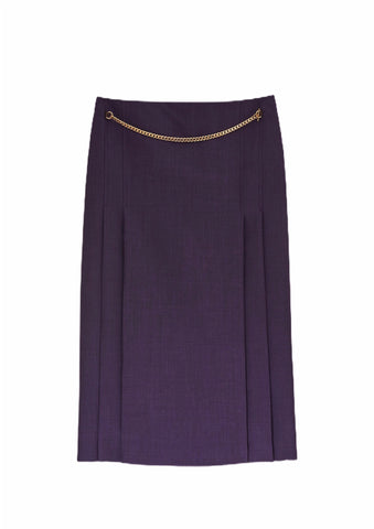 Victoria Beckham Chain Belt 70s Midi Skirt (Pick Up In Store Only)