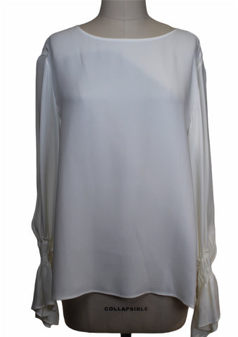 Lafayette 148 Long Sleeve Cream Silk Blouse (Pick Up In Store Only)
