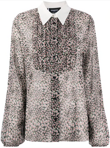 Rochas Collared Shirt Style Floral Blouse