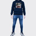 Men's Tribal Society Kamikaze Tiger Fleece Lined Hoodie - Navy