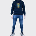 Men's Tribal Society Scarab Beetle Fleece Lined Hoodie - Navy